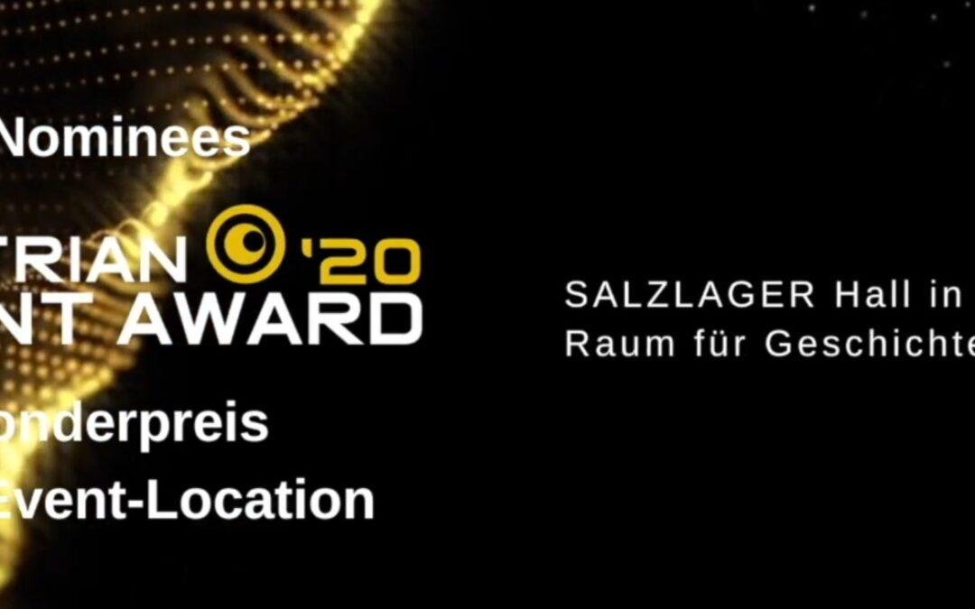 Best Event-Location: Salzlager Hall zum Austrian Event Award 2020 nominiert